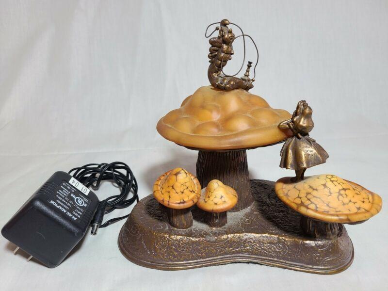 DISNEY ALICE IN WONDERLAND CATERPILLAR MUSHROOM BRONZE SCULPTURE LAMP RARE