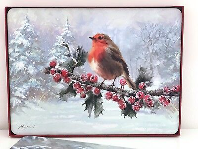 SET 4 FESTIVE ROBIN CHRISTMAS GIFT BOXED PLACEMATS TABLEMATS DINNER TABLE MAT