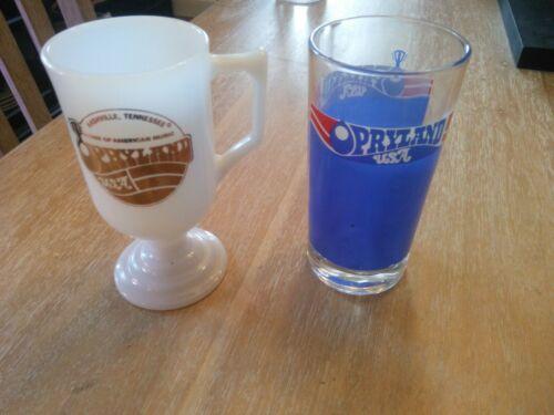 (2) Vintage 70s OPRYLAND USA GOLD LOGO MILK GLASS Footed Pedestal Coffee Mug Cup