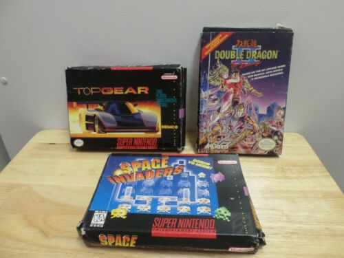 3 Nes and Super Nintendo boxes only. Double Dragon II, Top Gear, Space Invaders