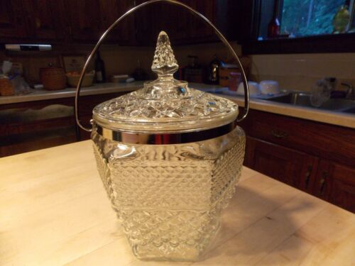 Vintage Wexford Glass Cookie Biscuit Jar W Lid and Handle