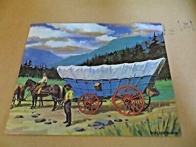 Vintage 1962 Teach A Chart Poster Early America Covered Wagon #10