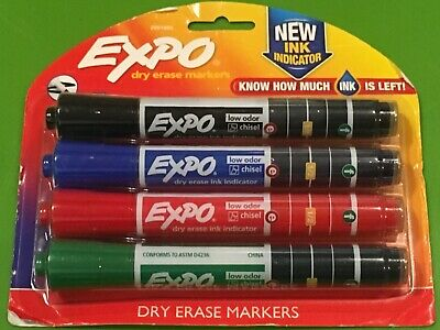 A3 Expo Ink Indicator Dry Erase Markers Blackblueredgreen Chisel Tip