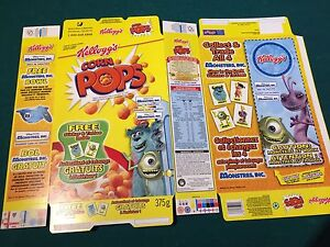 Disney Monsters movie collector cereal boxes