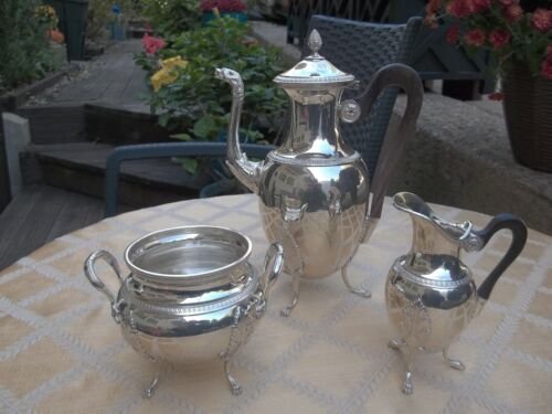 French Empire Style Adolphe Boulenger 1878 Three Piece Coffee Set 950 Sterling