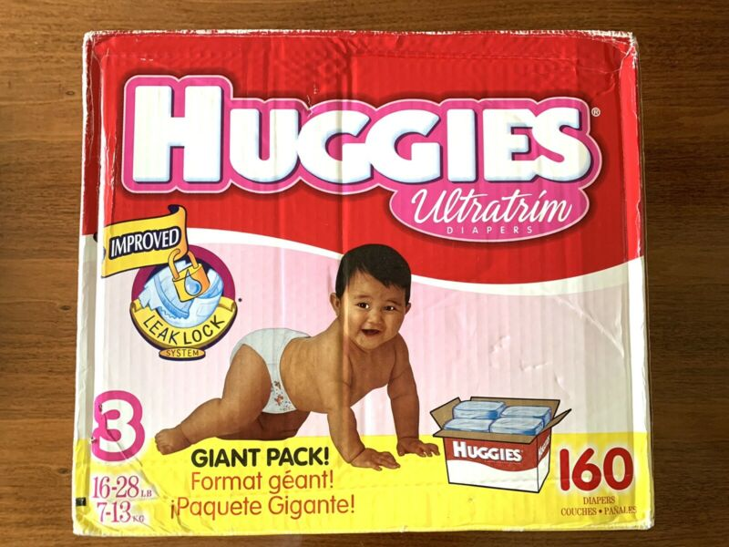 EXTREMELY RARE OPEN BOX Vintage 1992 Huggies Ultratrim Size 3 - 160 CT