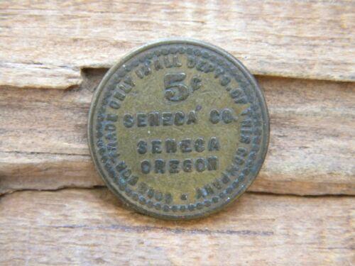 Seneca, Oregon Old Lumber Trade Token SENECA CO. gf 5¢ Grant County OR ORE