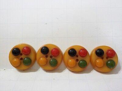 Vintage Bakelite Buttons artist palette colors set of 4