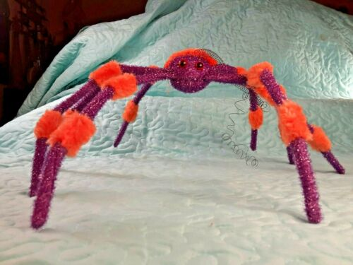 "Large 23"" X 21"" Purple & Orange SPIDER w/ Posable Legs Halloween Prop Decoration"