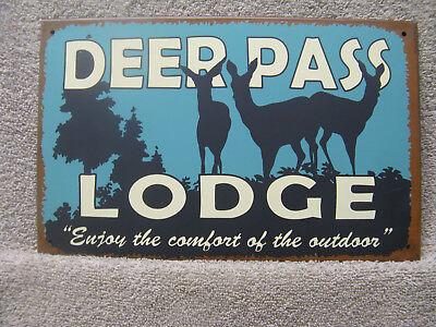 Rustic Lodge Deer - Deer Pass Lodge RUSTIC DECOR Tin Metal Sign NEW Outdoors