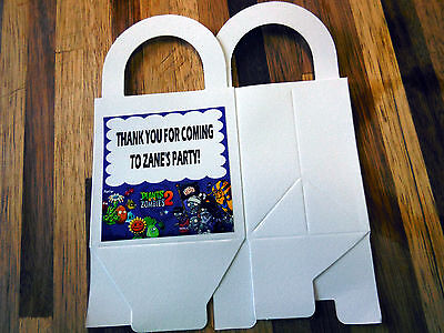 12 PLANTS VS ZOMBIES  loot boxes/bags birthday party favor treat, CUSTOMIZE IT!](Zombie Party Favors)