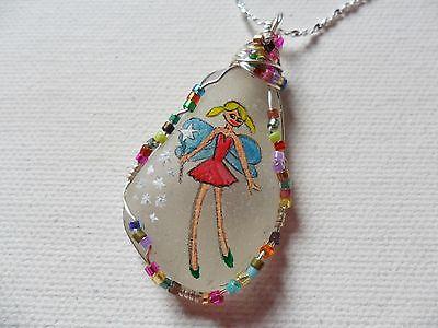 Rainbow sparkle fairy necklace - hand painted sea glass miyuki beads