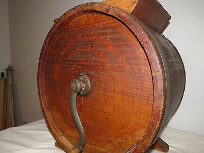 Antique Wooden Cylinder Barrel Style Tabletop Butter Churn No. 2 Improved