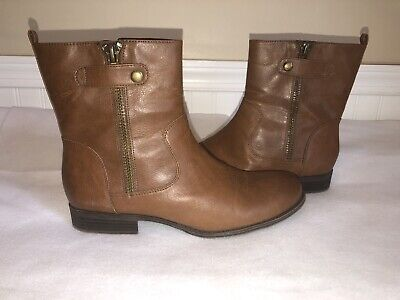 Naturalizer Womens Boots Jacklyn Tan Brown Smooth Leather Side Zip Size 9M EUC
