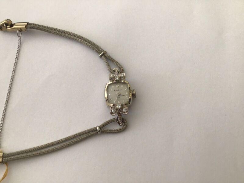 14 Kt Gold Diamond Ladies Vintage Bulova Watch.23 Jewel Excellent Condition