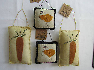 Easter Spring CHICK & CARROT pillow Ornaments / Bowl Fillers 4pc NEW Collins