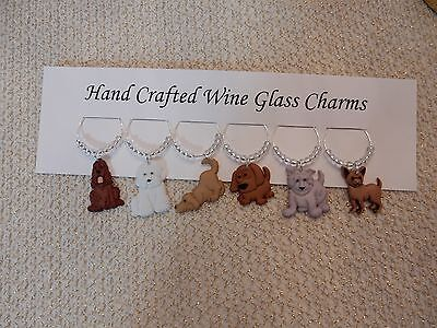 """ DOGS"" SET OF 6 Hand Crafted Wine Glass Charm drink markers"