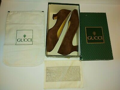 Vintage Gucci Brown Suede Loafer Pump Womens 38.5 Dead Stock 1990s 80s Authentic