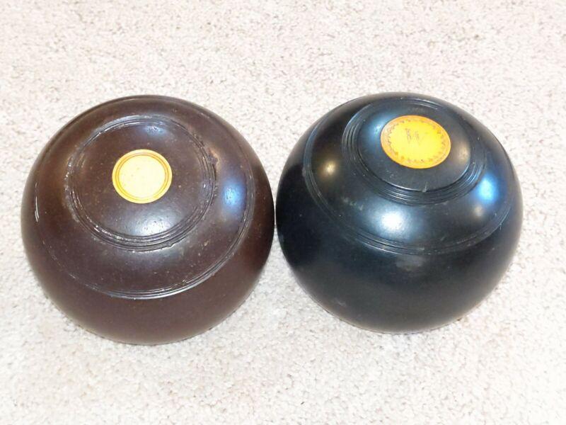 2 Antique Thomas Taylor Glasgow  #2 Bias Bocce Lawn Bowling Balls