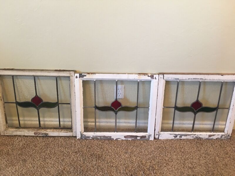 """Antique Leaded English Stained Glass Windows 22"""" X 20"""""""
