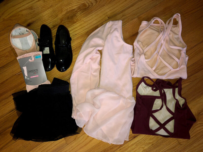 Toddler Dance Lot 7 Pieces Tap And Ballet Shoes Tights 3 Leotards And Tutu Size