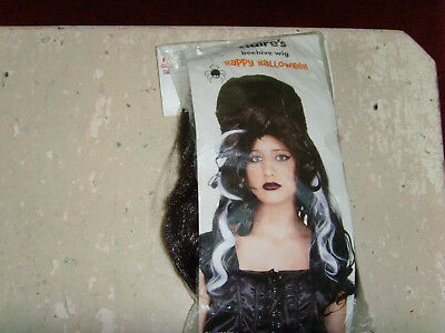 NEW Claires black and white Beehive Bride of Wig adult size Halloween costume (Black And White Halloween Wig)