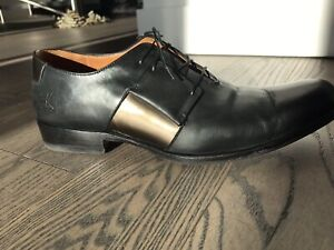 JOHN FLUEFOG BRONZE PANEL BLACK DRESS SHOES