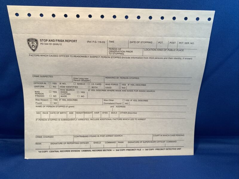 NYPD VINTAGE AUTHENTIC BANNED STOP QUESTION FRISK FORM COLLECTIBLE CONTROVERSIAL