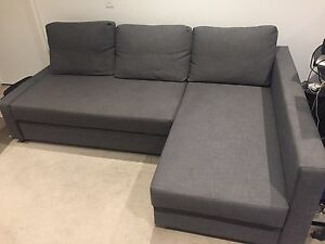 Corner Sofa Bed with Storage - Dark Grey - Good condition Southbank Melbourne City Preview