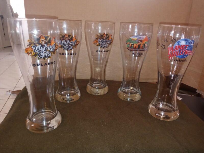 Three Orlando Rainforest Cafe + T-REX Pilsener Glass 1 Pint Souvenir 8.5 height
