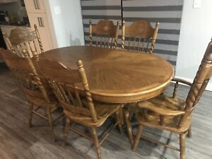 Dinning Table 6 Chairs ( Solid Oak Wood)