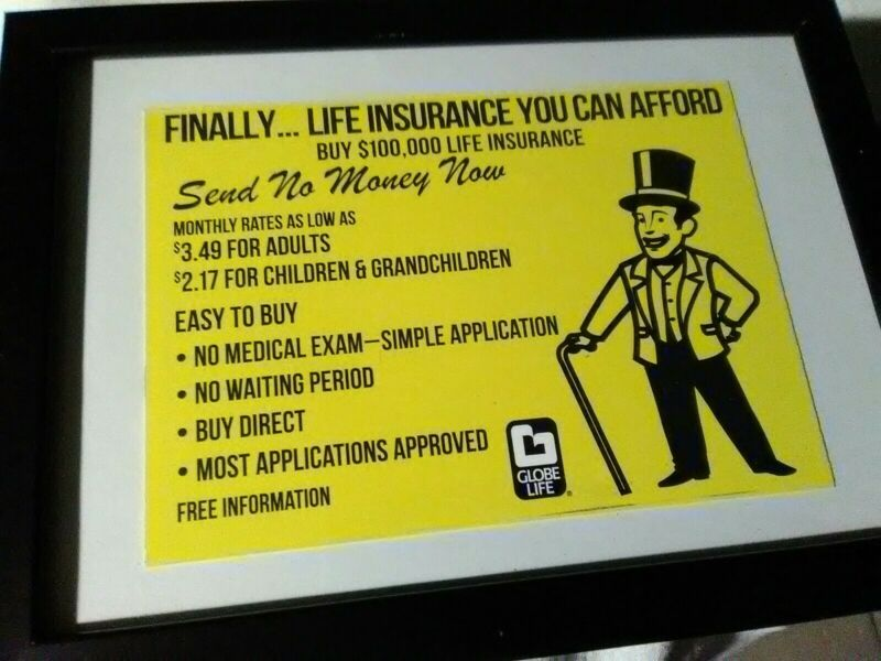 Rare Globe Life Insurance Low Information Advertising Mailer Card Buy 100,000