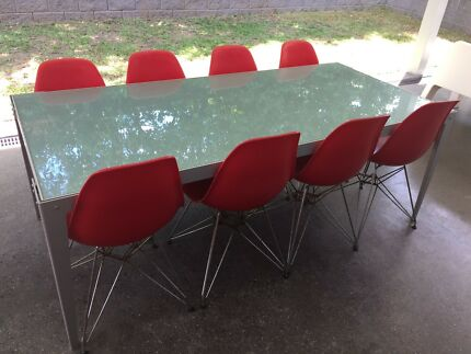 8 x Red Eames style outdoor  indoor plastic / chrome chairs - BARGAIN!