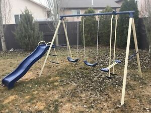 Swing set with slide - good shape