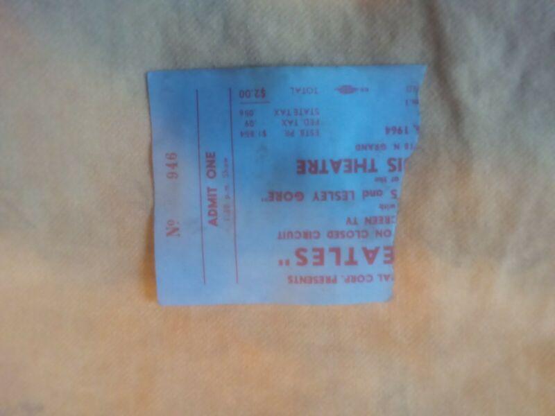 Beatles 1964 original ticket stub