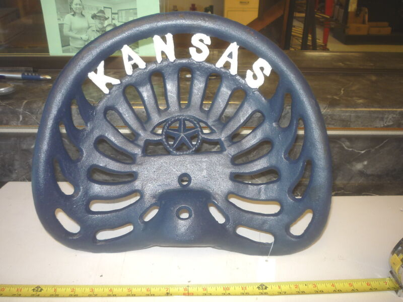 CAST IRON FARM BAR STOOL GARDEN SEAT  KANSAS  JAYHAWK BLUE