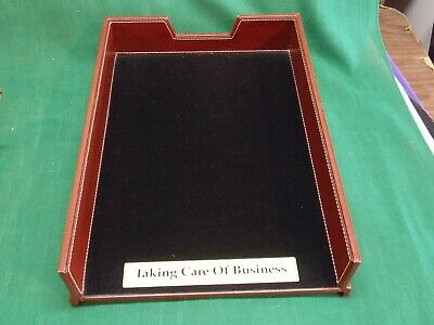 Faux Leather Desk Inbox Letter Tray With Brass Taking Care Of Business Plate