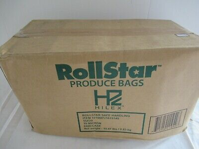 2400 Ct Produce Roll Bags 15 X 20 Hdpe Printed Safe Handling Warning 4 Rolls