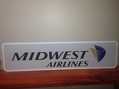"Midwest Airlines Vintage metal sign 6"" x 24"""