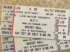 Alt-J 2 tix Sat Oct 28 looking to Trade for Friday