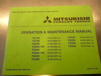 Mitsubishi Fg15k Fg18k Fg20k Forklift Truck Owner Operator Maintenance Manual
