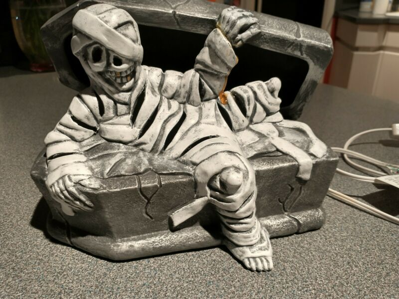Halloween Light Egyptian Mummy In & On Coffin Pottery Handpainted Decoration 9""