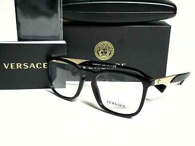 New Authentic VERSACE VE3252 GB1 Black/Demo Lens 54/19/145 Eyeglasses