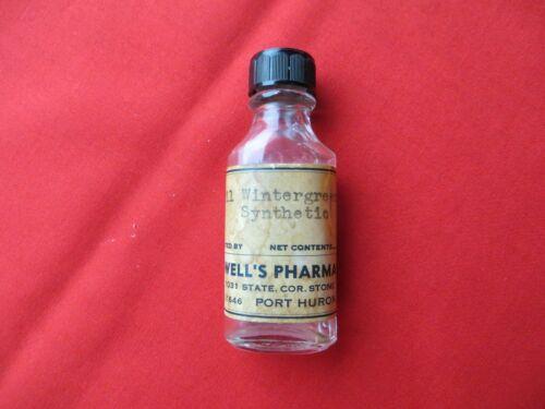 """Antique Vintage Clear Glass Prescription Pharmacy Bottle w/ Rare Paper Label 3"""""""