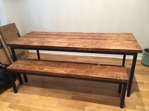 Handmade Hemlock Barnwood Table and Bench