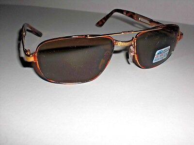 Sonnenbrille/Goldfarbiger Metallrahmen, braune Gläser, Damen, verzierte Bügel