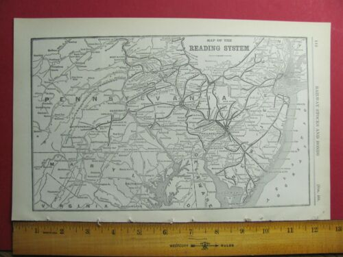 1917 READING RAILROAD SYSTEM MAP RDG RR HISTORY DEPOTS STATIONS