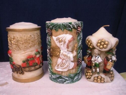 Vintage Emperor Art Creations Carved Candle Lot of 3 Christmas