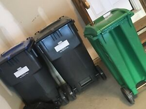 Brand New Recycling and Garbage Bin with Compost bin
