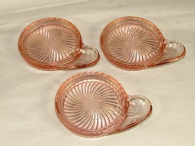 3 Rare Macbeth-Evans Pink Depression Glass Tea-Coffee Cup Coasters w/Spoon Rests
